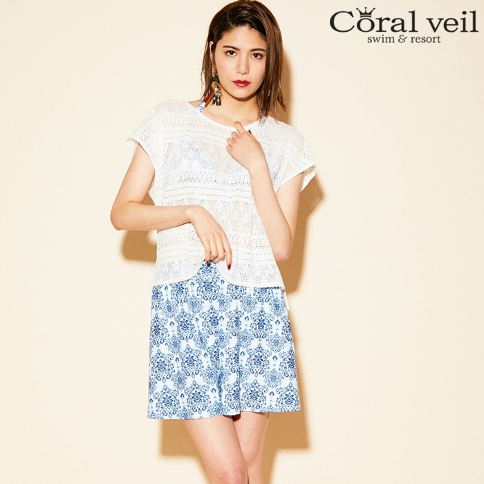 【Coral veil】Wall Lace×アラベスク 4点セット水着 7号/9号/11号 水着 みずぎ ミズギ 4点セット水着 レディース水着