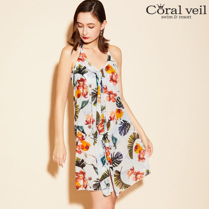 【Coral veil】トロピカルフラワー パレオワンピ 3点セット水着 9号/11号 水着 みずぎ ミズギ 3点セット水着 レディース水着