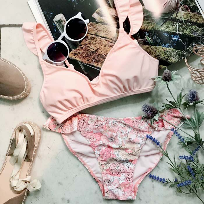 【AI Pink】Solid×Pastelflower ショルダーフリル ビキニ 9号 水着 みずぎ ミズギ ビキニ レディース水着