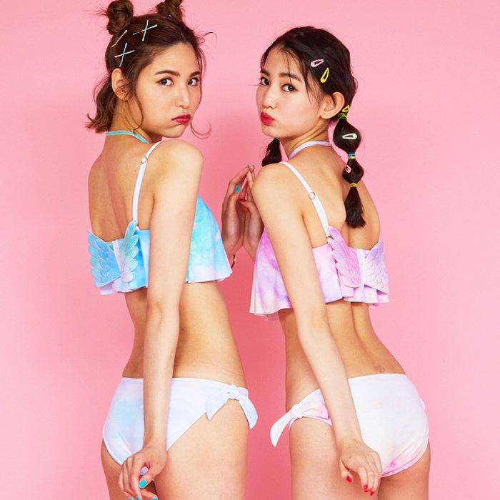 【AI Pink】Pastel Wings フレアトップ ビキニ 9号 水着 みずぎ ミズギ ビキニ レディース水着