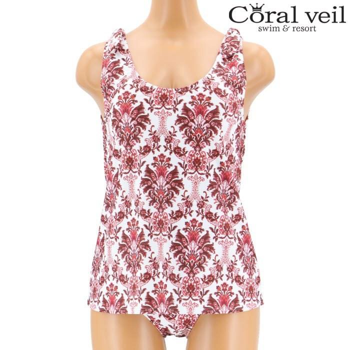 【Coral veil】Slab Ethnic タンキニ水着 9号/11号 水着 みずぎ ミズギ タンキニ水着 レディース水着