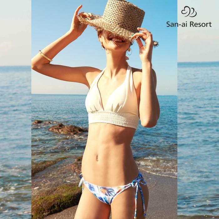 【San-ai Resort】Tropical Paintシャーリング ナチュラルアップビスチェ ビキニ 9号/7M 水着 みずぎ ミズギ ビキニ レディース水着