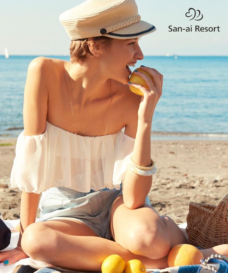 【San-ai Resort】Solid オフショルダー ビキニ 9号 水着 みずぎ ミズギ ビキニ レディース水着