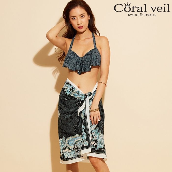 【Coral veil 】Line Paisely ラインペイズリー ワイヤー 3点セット水着 9号/11号 水着 みずぎ ミズギ 3点セット水着 レディース水着