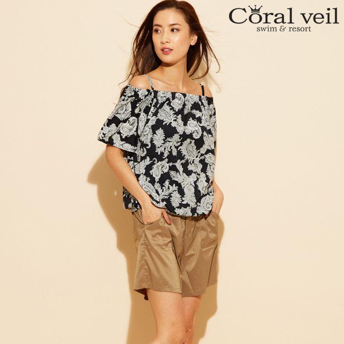 【Coral veil】Elegant Paisley オフショル 4点セット水着 9号/11号 水着 みずぎ ミズギ 4点セット水着 レディース水着
