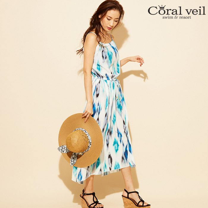 【Coral veil】タイダイマキシ ワンピース M 水着 みずぎ ミズギ ワンピース レディース水着