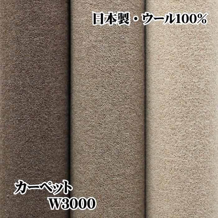 【送料込価格(沖縄・離島は送料別途お見積り)・代引き不可】  日本製 防炎・抗菌・防臭・ウール100%カーペット ラグ 絨毯(じゅうたん)純毛ループ無地ジュータンW3000 江戸間6畳 261×352cm