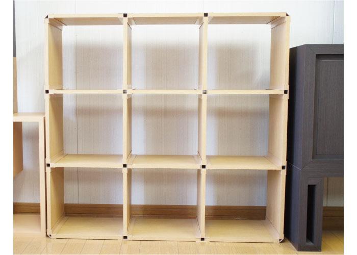 """""""家具の街""""旭川から環境に優しい製品が登場!「紙製の棚板で出来た組み合わせ自由な棚」ECOシェルフ KAMIたな 3段×3列タイプ"""