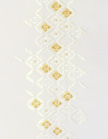 七宝菊つなぎ 刺繍半衿 正絹 メイルオーダー 塩瀬 出色 半襟 白地×白金 袷用