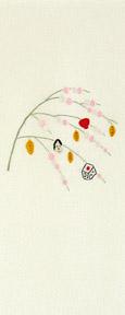 もち花 手刺繍半衿 / 正絹 / 片身替わり / 半襟