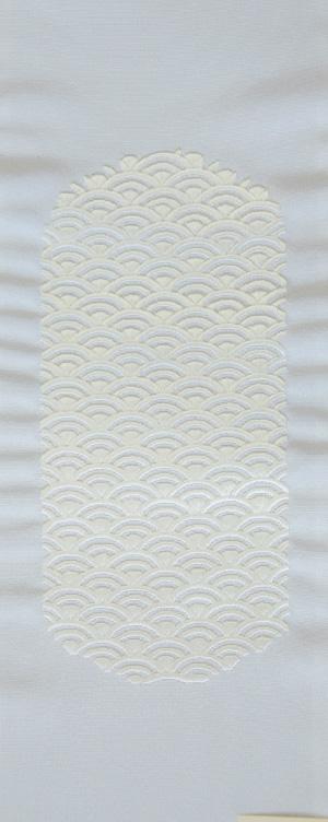 青海波 刺繍半衿 / 正絹・塩瀬 / 袷用 / 白地×白 / 半襟