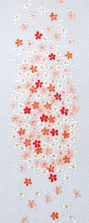 [マラソン 10%OFFクーポン配布]小桜吹雪 手刺繍半衿 / 縮緬・正絹 / ブライダル・袷用 / 白地×金糸 / 半襟