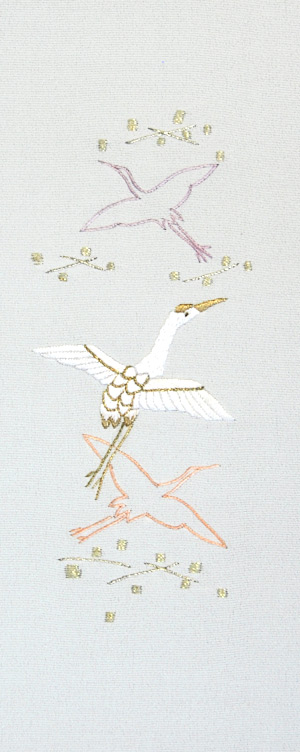 飛鶴 手刺繍半衿 / 縮緬・正絹 / 袷用 / 白地×金糸 / 半襟