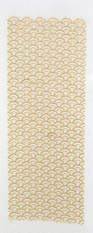 青海波 刺繍半衿 卓越 ポリエステル縮緬 白地×金 半襟 メーカー再生品 袷用