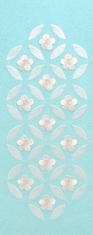 七宝梅 刺繍半衿 / ポリエステル縮緬 / ブライダル / 水色地×白銀 / 半襟