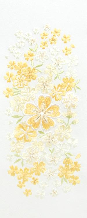 大小桜ちらし 刺繍半衿 / 正絹・塩瀬 / 白地×イエロー / 半襟