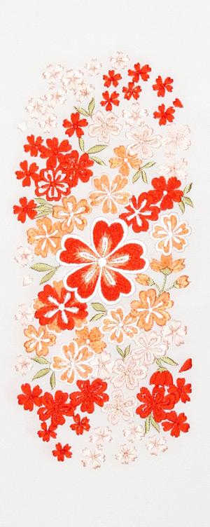 大小桜ちらし 刺繍半衿 / 塩瀬・正絹 / 白地×朱色 / 半襟
