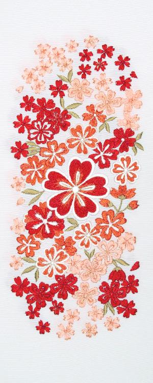 大小桜ちらし 刺繍半衿 / 塩瀬・正絹 / 白地×エンジ / 半襟