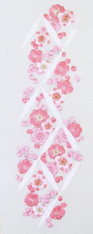連続梅 刺繍半衿 / 正絹・塩瀬 / 袷用 / 白地×ピンク / 半襟