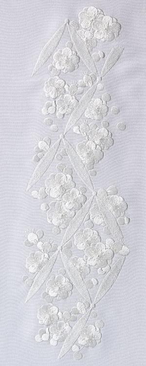連続梅 刺繍半衿 / 正絹・塩瀬 / 袷用 / 白地×白 / 半襟