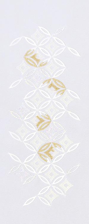 七宝菱 ラメ 刺繍半衿 ポリエステル 新作 白地 半襟 袷用 数量限定 塩瀬