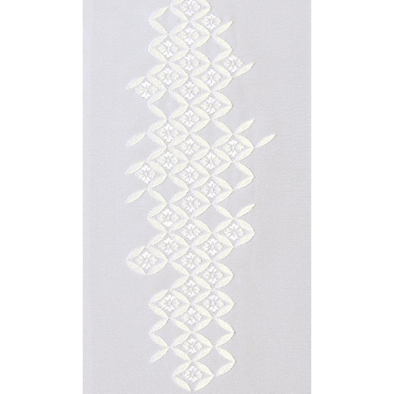 七宝菊つなぎ 刺繍半衿 正絹 塩瀬 白地×白 値引き 新着 14010白白七宝菊つなぎ 袷用 半襟