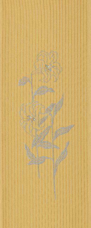 たて絽・ユリ 半衿 縦絽/ポリエステル/2色/紺・ウコン色/片身変わり/単衣用 / 半襟