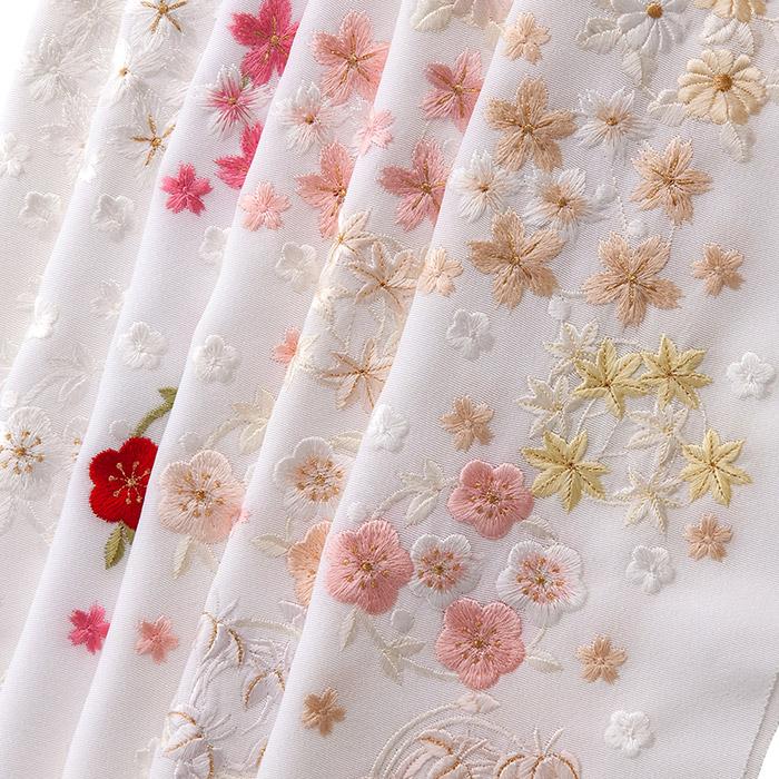 正絹半衿 花丸 紅葉 刺繍半衿 正絹 袷用 和装小物 半衿 刺繍衿 日本製
