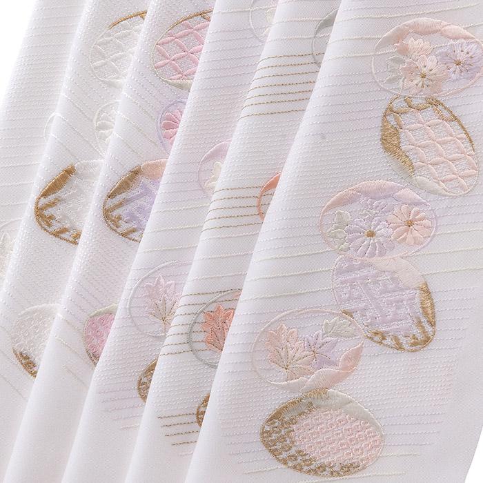 正絹半衿 貝合わせ 刺繍半衿 正絹 袷用 和装小物 半衿 刺繍衿 日本製