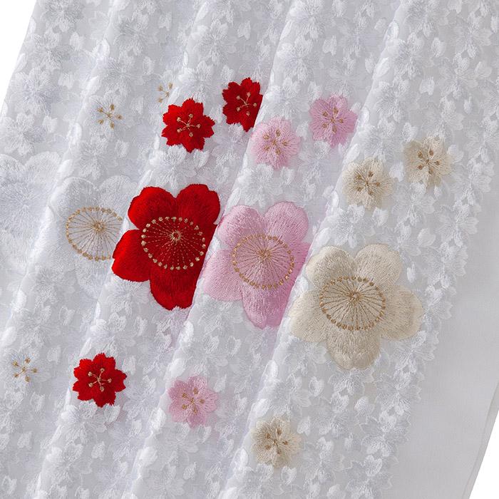 ポリエステル半衿 総刺繍 桜尽し 刺繍半衿 ポリエステル 袷用 和装小物 半衿 刺繍衿 日本製