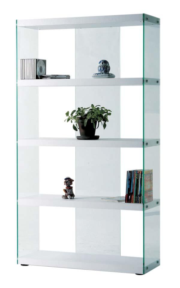 幅83×奥行31.5×高さ149cm8mm強化ガラスグラスシェルフ 飾り棚  キャビネットホワイト色 HAB-624WH