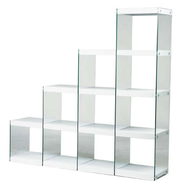 幅164 強化ガラス使用ステアラックオープンシェルフ飾り棚  キャビネットAZHAB-703WH