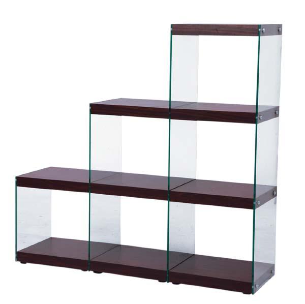 幅123強化ガラス使用ステアラック3Dオープンシェルフ飾り棚  キャビネットブラウン色AZHAB-702BR