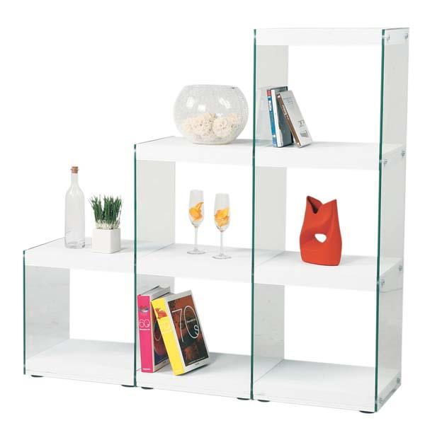 幅123㎝強化ガラス使用ステアラック3Dオープンシェルフ 飾り棚 キャビネットAZHAB-702WH