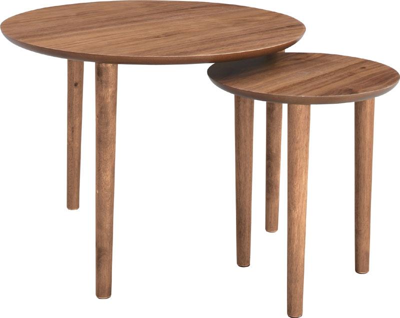 円形サイドテーブル木目の丸テーブルラウンドネストテーブル丸テーブルAZ TAC-224WAL