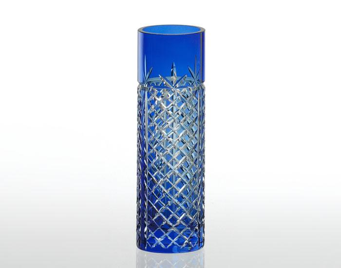 カガミクリスタル 江戸切子 ガラス 花瓶 一輪挿し F654-1844CCB 矢来重 青F654-1844