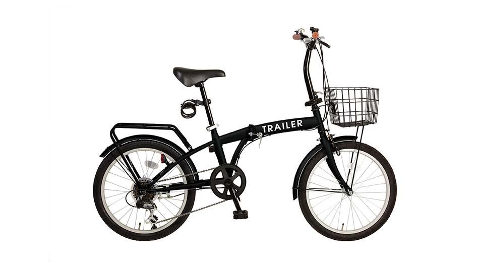 欠品中次回8月13日入荷予定TRAILER20インチ折りたたみ自転車 6段変速カゴ/カギ/ライト付 ブラック色BGC-F20-BK
