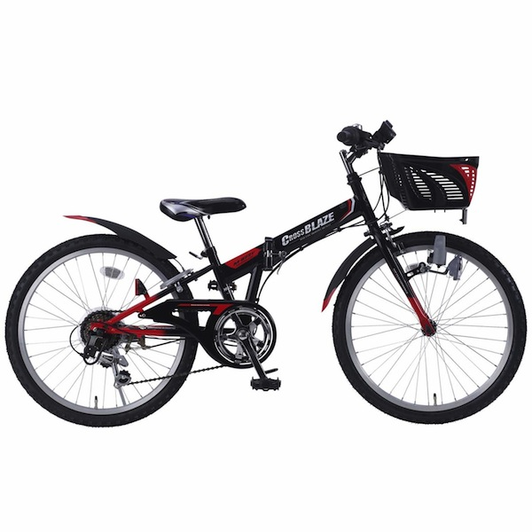 24インチ カゴ付シフトインジケーター標準装備軽自動車にも積めるシマノ製6段変速マウンテンバイクジュニア 子供自転車折り畳み自転車 24インチMyPallas マイパラスM-824F ブラック色