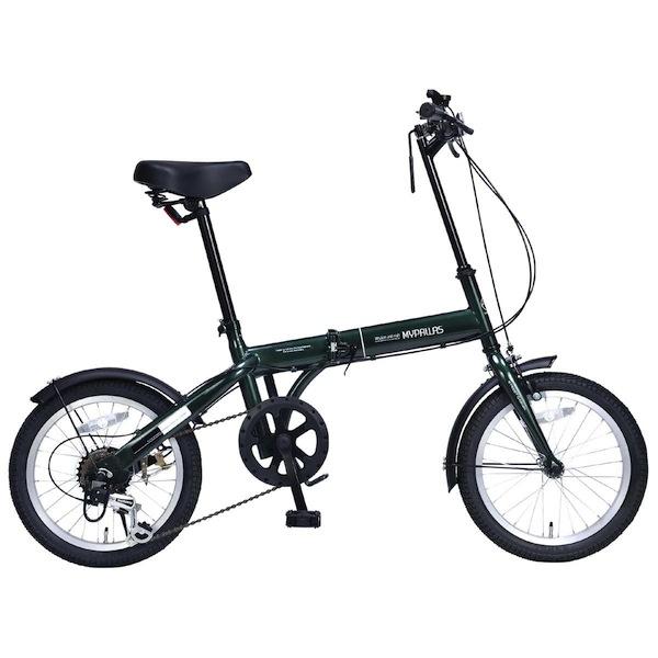 16インチ軽自動車にも積めるシマノ6段変速折り畳み自転車 16インチMyPallas マイパラスM-103 ダークグリーン色