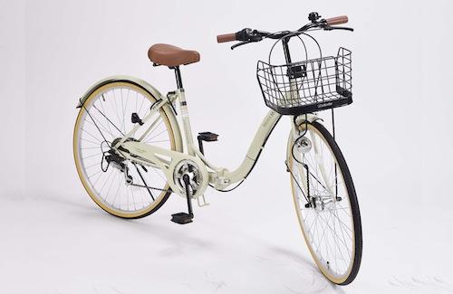 パンクしにくい自転車26インチ 折り畳み自転車軽量設計 低床フレームMyPallas マイパラス6段変速付き シティサイクルM-509 PRINTEMPSアイボリー色