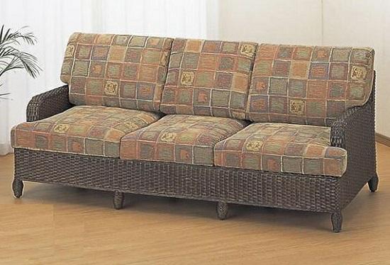 今枝商店 籐家具 ラタン家具 3人掛けソファ 3Pラブチェア 単品 Y113B Y-113B