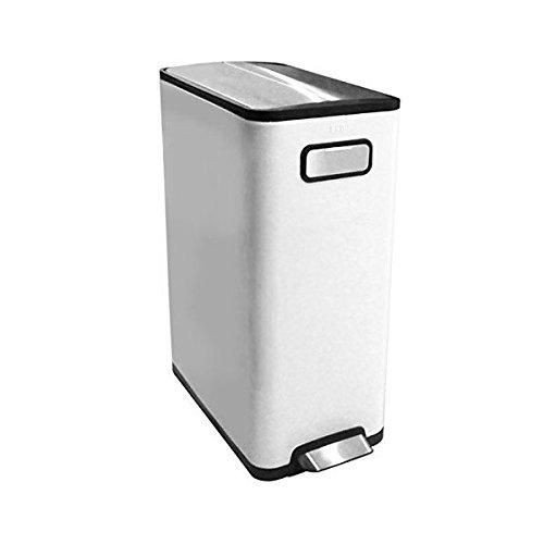 本体ホワイト色分別にも便利インナーボックスが2つにペダル式ゴミ箱キャスター付き ダストボックス開閉の音が非常に静かエコフライ ステップビンEK9377MP-20L+20L-WH ホワイト両開きのフタ ゴミ箱EKO JAPAN 正規販売店