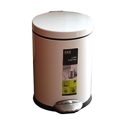 5Lペダル式ゴミ箱フタ付き ごみ箱 ダストボックス開閉の音が非常に静かルナ ステップビン 5LEK9219P-5L-WH ホワイトEKO JAPAN 正規販売店