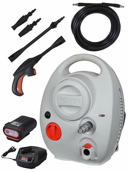 高圧洗浄機コンパクト 洗浄機コードレス式 充電式工進 KOSHIN高圧洗浄機 充電式 36V スマートコーシンバッテリー・充電器付きSJC-3625