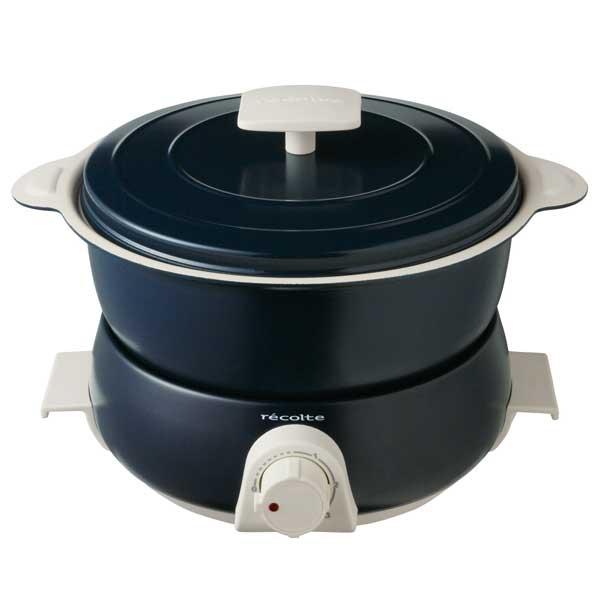 レコルト recolte ポットデュオ フェット電気鍋 マルチクッカー なべ マルチクッカー 万能鍋 一人鍋 ネイビー色 RPD-3 (NV)