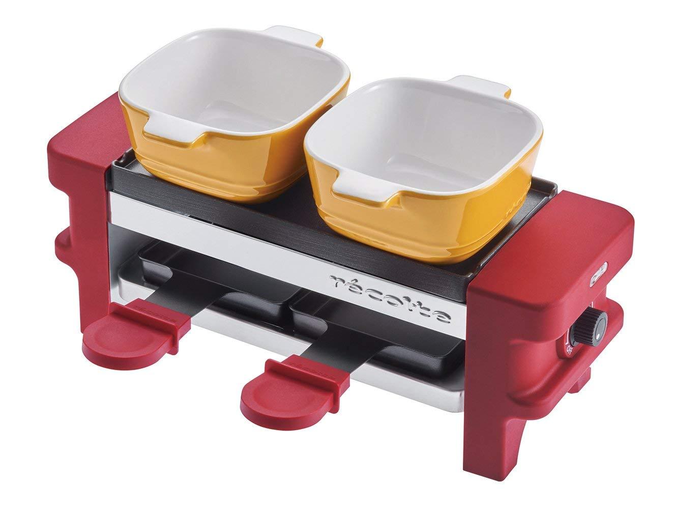 チーズフォンデュ陶磁器耐熱ココット・ミニパン付きとろ〜り溶けたチーズ無段階温度調節機能recolte レコルトラクレットフォンデュメーカーメルトRRF-1 レッド色