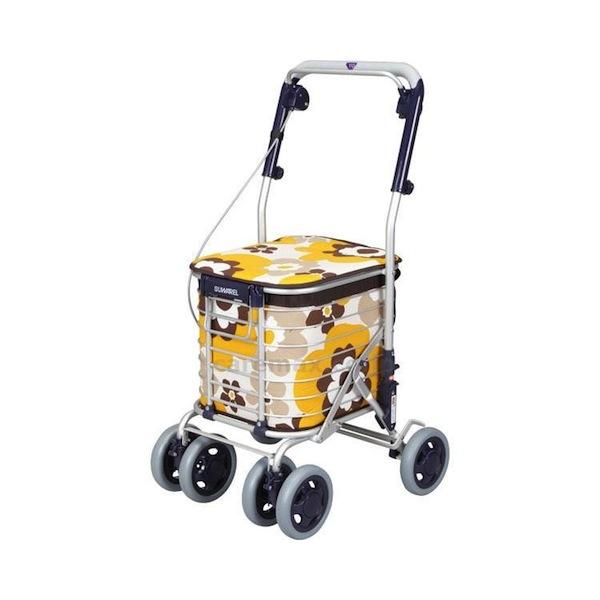 座れるカートアルミショッピングカートスワレル (ユーバ産業) AS-0275 花柄イエロー色