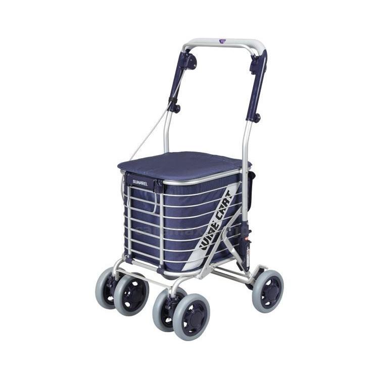 座れるカートアルミショッピングカートスワレル (ユーバ産業) AS-0275 無地ネイビー色