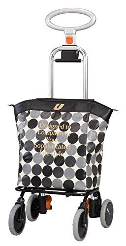 ショッピングカート買い物カート アップライン5段高さ調整保温・保冷仕様 (ユーバ産業) UL-0218 水玉ブラック色