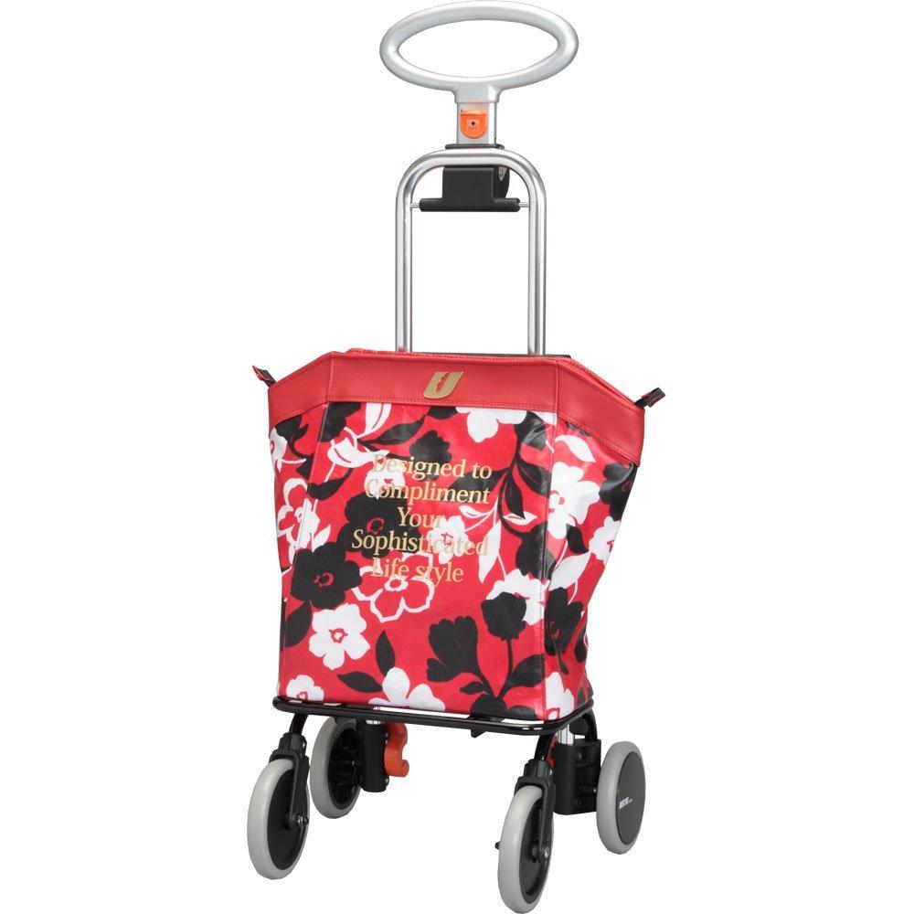ショッピングカート買い物カート アップライン5段高さ調整保温・保冷仕様 UL-0218 (ユーバ産業) 花柄レッド色